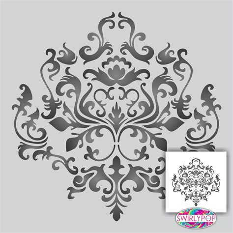 Damask Wall Stencil Large 12x12 Quot Faux Mural Pattern Ebay Wall Mural Templates