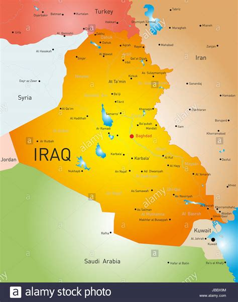 map of iraq vector detailed map of iraq country stock photo royalty