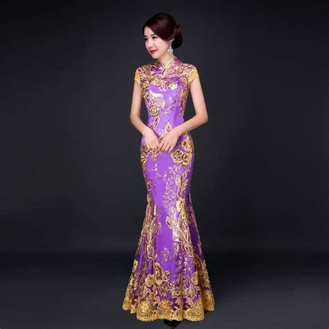 Dress Of The Day Golden Lace Qi Pao by Fishtail Lace Modern Cheongsam Gold Thread Embroidery