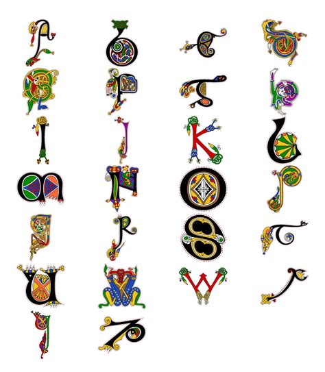 Book Of Letters alphabet from the book of kells a