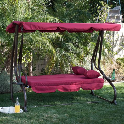 outdoor swing bench 3 person outdoor swing w canopy seat patio hammock