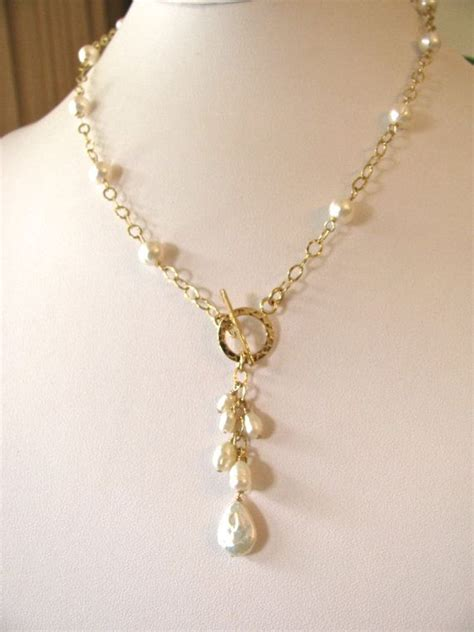 white pearl gold toggle necklace