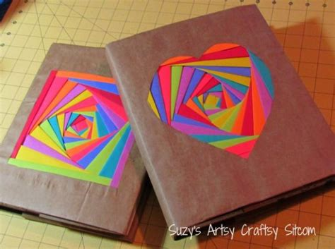 A Paper Book Cover - make colorful folded paper book covers 187 dollar store crafts