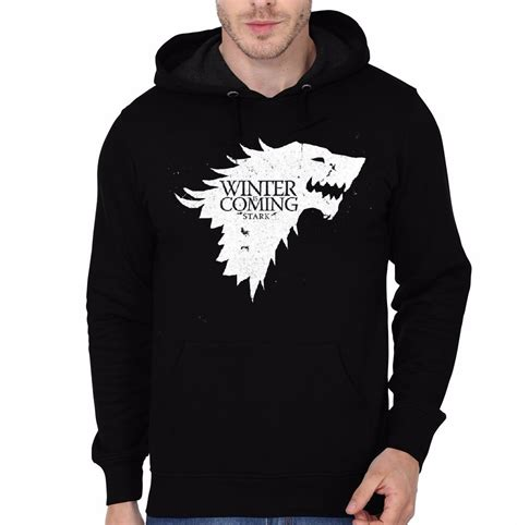 Shirts And Hoodies Winter Is Coming Black Hooded Sweatshirt Swag Shirts