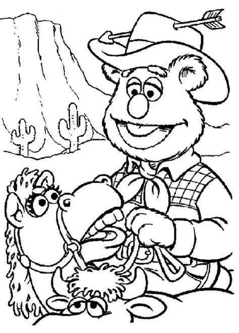 the muppets fozzie bear wild west cowboy coloring pages