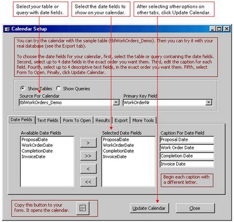 Access Calendar Microsoft Access Calendar Tool Schedule By Month Week Day