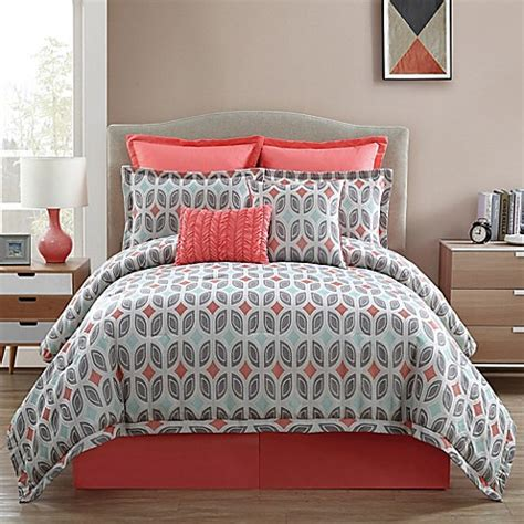 Coral And Grey Bedding Sets Clairebella Bermuda Comforter Set In Taupe Bed Bath Beyond