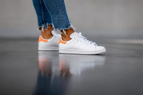 adidas womens stan smith footwear whitesolar orange ee