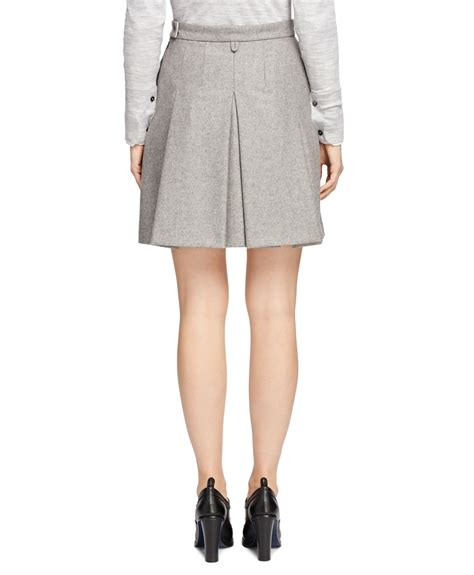 brothers wool blend pleated skirt in gray lyst
