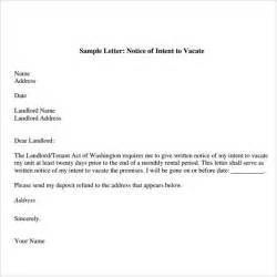 intent to vacate letter template sle notice to vacate letters 8 free