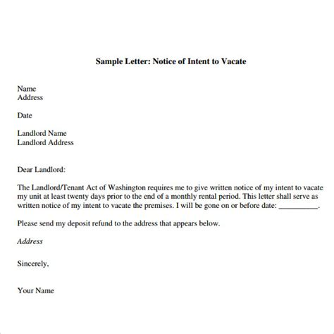business letter notice notice of intent to vacate template business