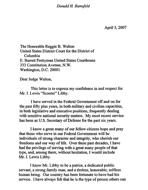 Character Reference Letter To Federal Judge Scooter Libby Letters The Gun