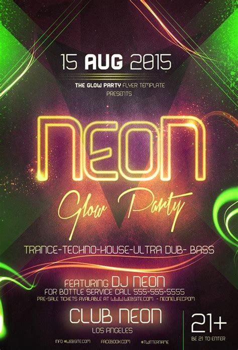 Flyer Template Psd Neon Glow Party 187 Nitrogfx Download Unique Graphics For Creative Designers Neon Flyer Template Free