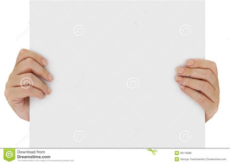 How To Make Paper Holding - holding blank paper stock photo image of copy