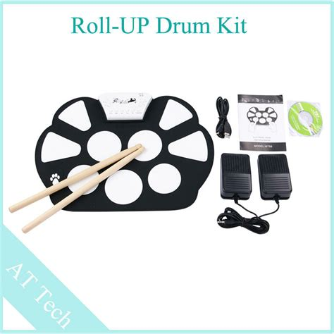 Usb Roll Up Drum Kit sale 1pcs portable usb midi drum kit usb roll up drum kit with foot pedal drum set contains