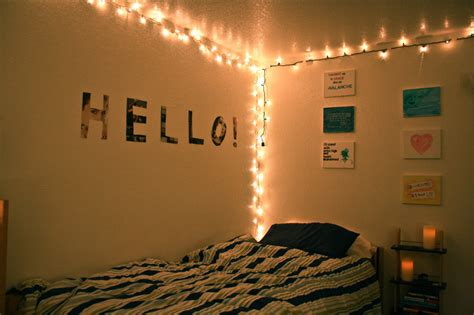 decoration hanging string lights in small bedroom spaces