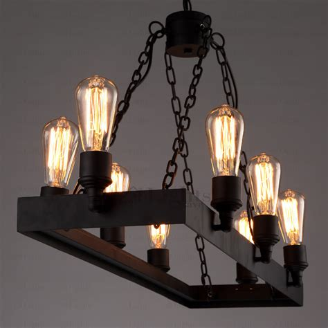 Rustic 8 Light Wrought Iron Industrial Style Lighting Fixtures Style Lighting Fixtures