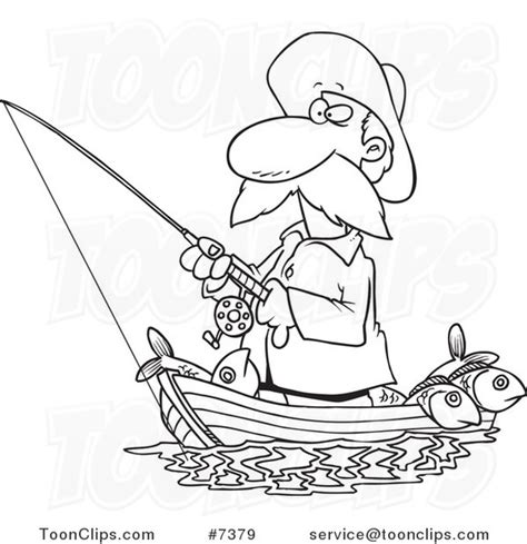 how to draw a fisherman boat cartoon black and white line drawing of a fisher man