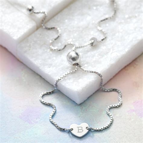 personalised sterling silver initial charm bracelet by