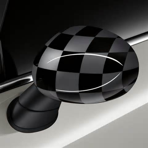 Mini Cooper Mirror Caps Mini Cooper F56 Black Grey Checkered Flag Mirror Caps By