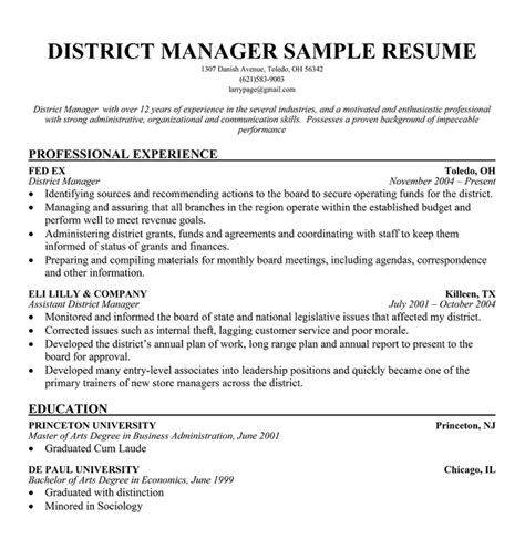 Sle Resume Restaurant District Manager Manager Resume Retail Sales