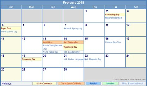 Calendar 2018 With Pictures February 2018 Calendar Printable With Holidays Printable