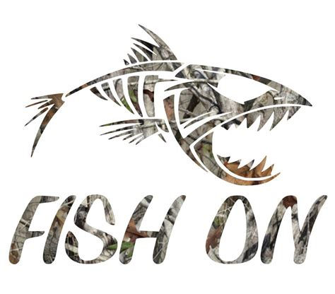 Fishing Stickers camouflage fish on skillet bass fishing sticker camo print