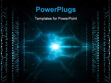 Powerpoint Template Abstract View Of Lots Of Binary And Shinning Blue Light 9470 Digital Powerpoint Template