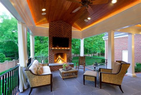 Outdoor Slate Fireplace - covered porch shillington traditional deck charlotte by advanced renovations inc