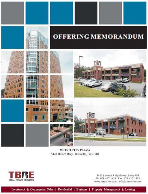 real estate offering memorandum template marketing tbre real estate services