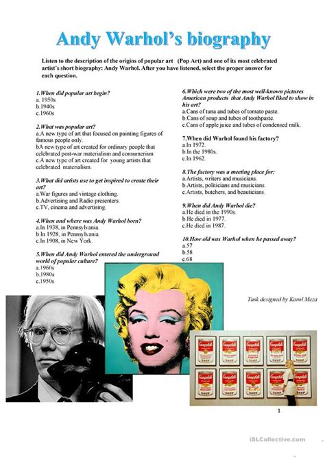 Andy Warhol Biography For Students | andy warhol s biography listening task worksheet free