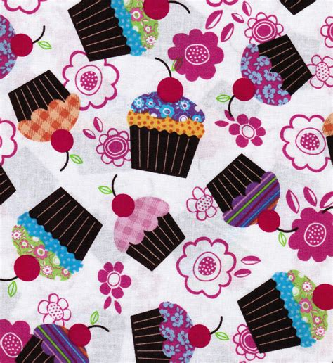 Novelty Quilting Fabric by Novelty Quilt Fabric Cupcakes And Flowers Jo