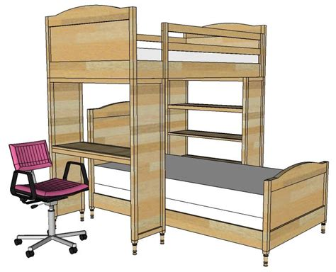 bunk bed with desk and bookcase free college dorm loft bed plans woodworking projects