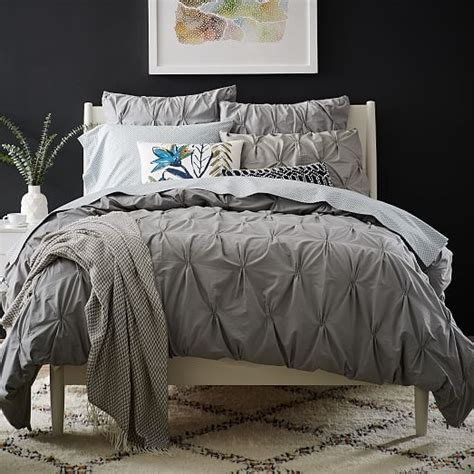 Bed Linens West Side Organic Cotton Pintuck Duvet Cover Shams Feather Gray