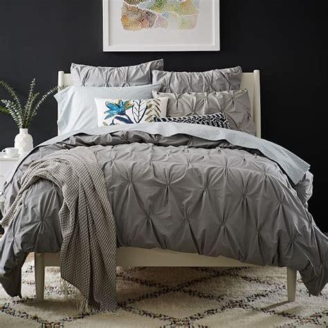 gray pintuck comforter organic cotton pintuck duvet cover shams feather gray