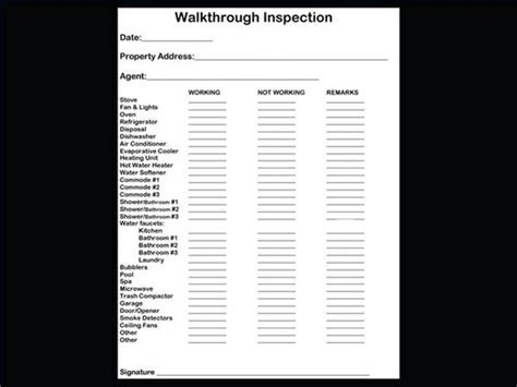 checklist for property inspection walkthrough walks