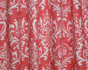 Coral Damask Curtains Damask Coral Curtain A Pair Of Custom Curtains Ozborn Coral White 50 Quot Wide X Up To 108 Quot
