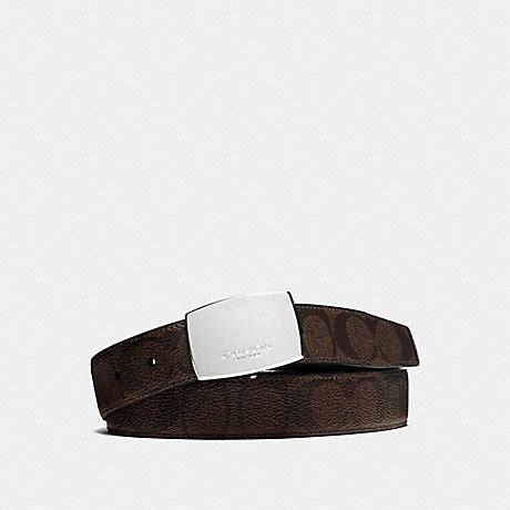 Jual Belt Coach Plaque Heritage Signature Reversible Charcoal Black coach f64828 dress plaque cut to size reversible signature coated canvas belt mahogany brown