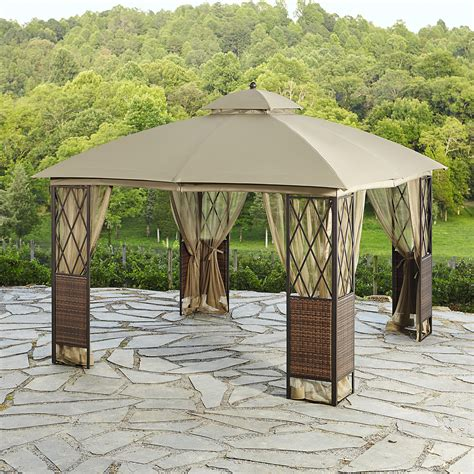 Essential Garden Square 10 X 10 Wicker Gazebo Outdoor Patio Gazebo 10 X 10