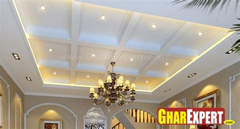 ceiling designs for hall coffered ceiling design with traditional chandelier