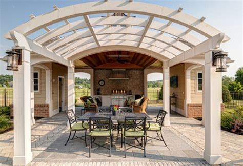Paver deck ideas, arched pergola design ideas pergola
