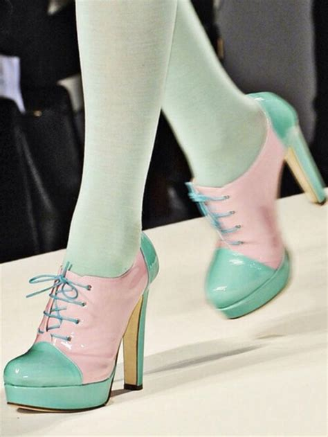 pastel oxford shoes shoes colorblock shoes pastel high heels oxford