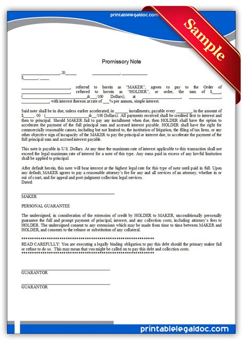 promissory note form free printable pictures
