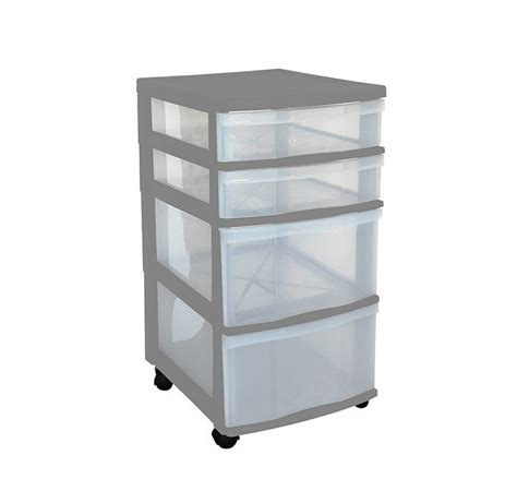 clear floor storage 4 drawers w wheels assorted