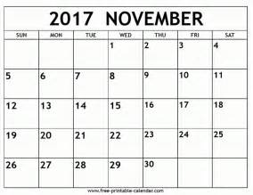 free print calendar november 2017 2017 calendar printable