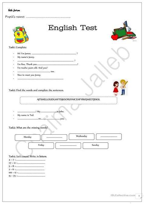 evaluation test for beginners worksheet free esl