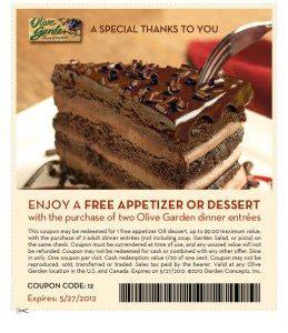 free appetizer or dessert at olive garden saving