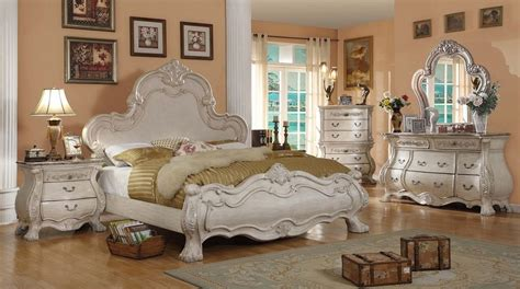 formal traditional antique white bedroom set bed