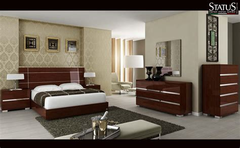 king size modern design bedroom set walnut 5 pc