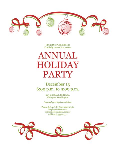Christmas invitation templates free printable christmas party